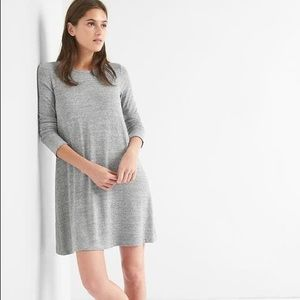 Gap Softspun Knit Long Sleeve Swing Dress Grey M